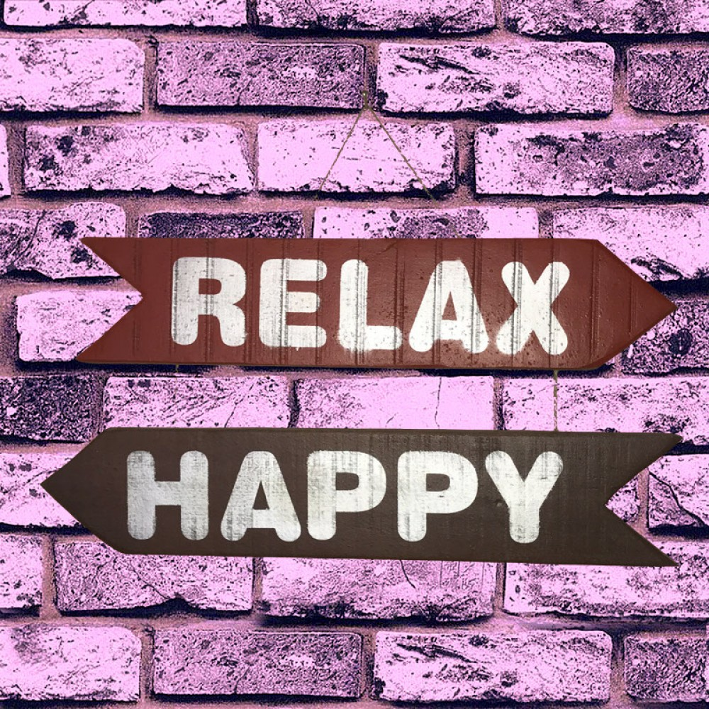 El Yapımı Ahşap Yön Oku Duvar Süsü Relax Happy
