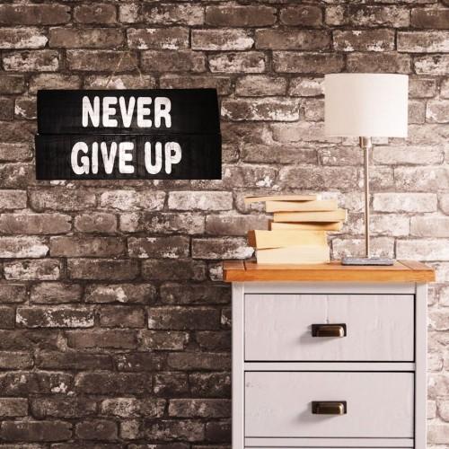 El Yapımı Ahşap Duvar Süsü Never Give Up