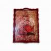Dekoratif Desenli Ahşap Servis Tepsisi Kırmızı