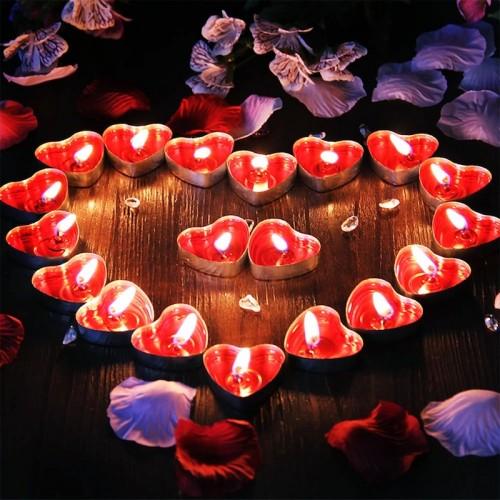 Kalp Şeklinde Kırmızı Hediyelik Mum 50 Adet