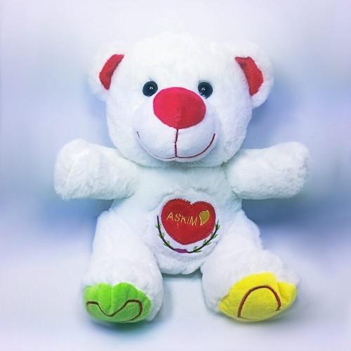 Sevimli Aşkım Yazılı Beyaz Peluş Ayıcık Orta Boy 25 cm