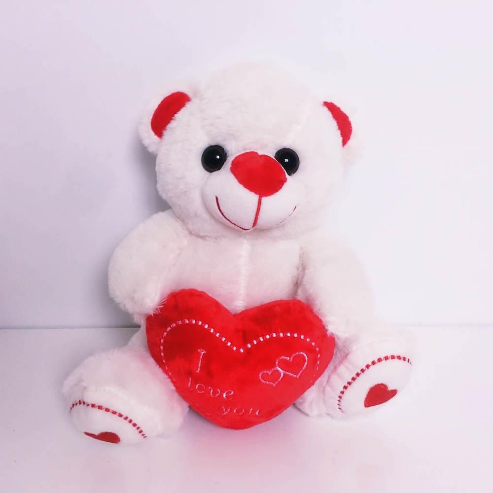 Sevimli Kırmızı Kalpli Beyaz Peluş Ayıcık Orta Boy 25 cm