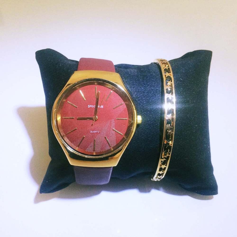 Spectrum Gold Kadran Kırmızı Kordon Bayan Kol Saati