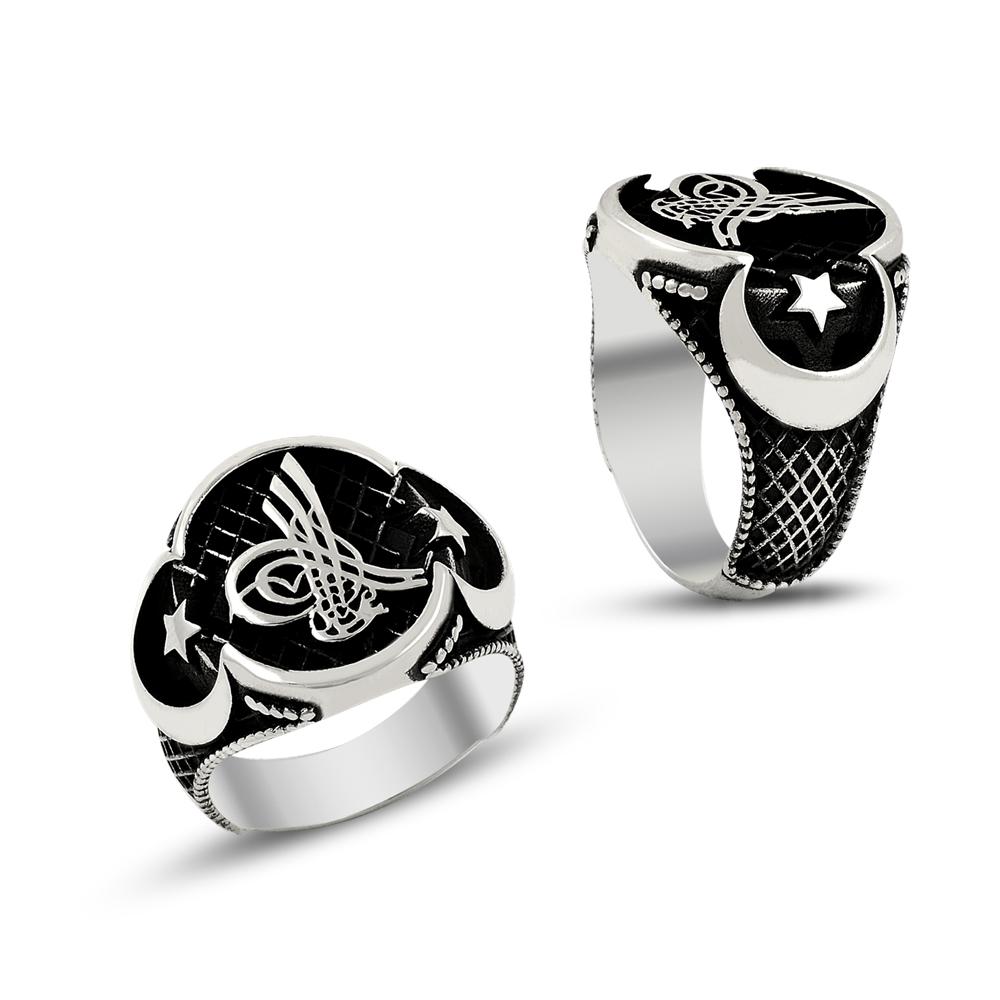 Osmanlı Tuğralı Ay Yıldız Erkek Gümüş Yüzük