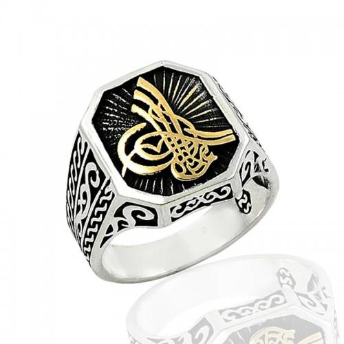 Motifli Osmanlı Tuğrası Erkek Gümüş Yüzük