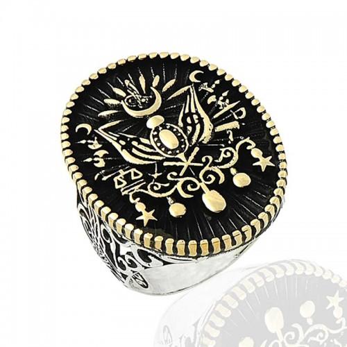 Oval Osmanlı Arması Erkek Gümüş Yüzük