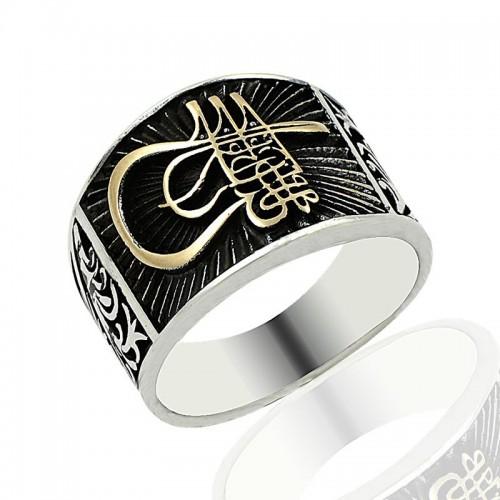 Fatih Sultan Mehmet Tuğrası Erkek Gümüş Yüzük