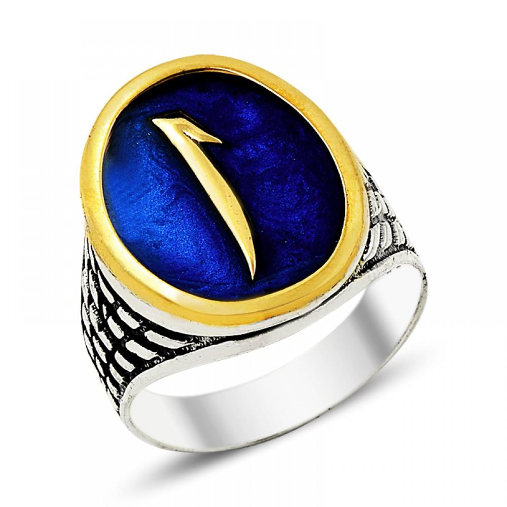 Mavi Mineli Elif Erkek Gümüş Yüzük
