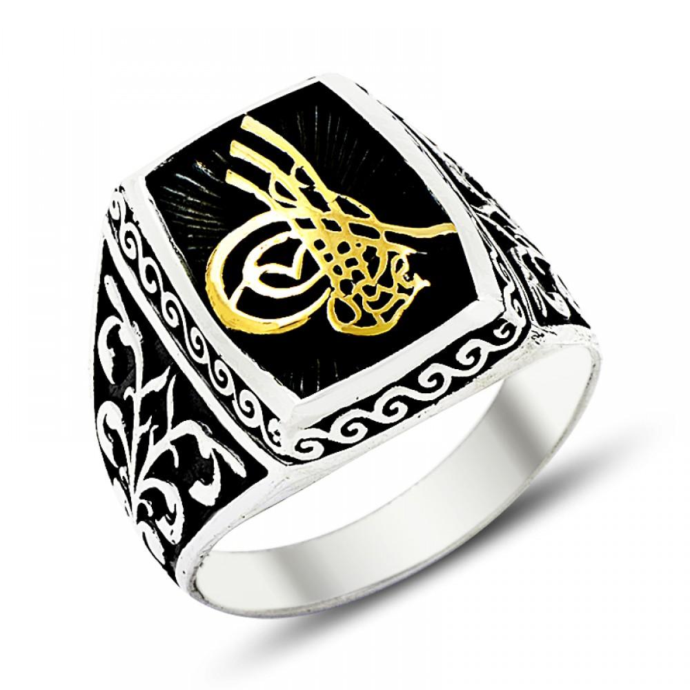 Desenli Osmanlı Tuğra Erkek Gümüş Yüzük