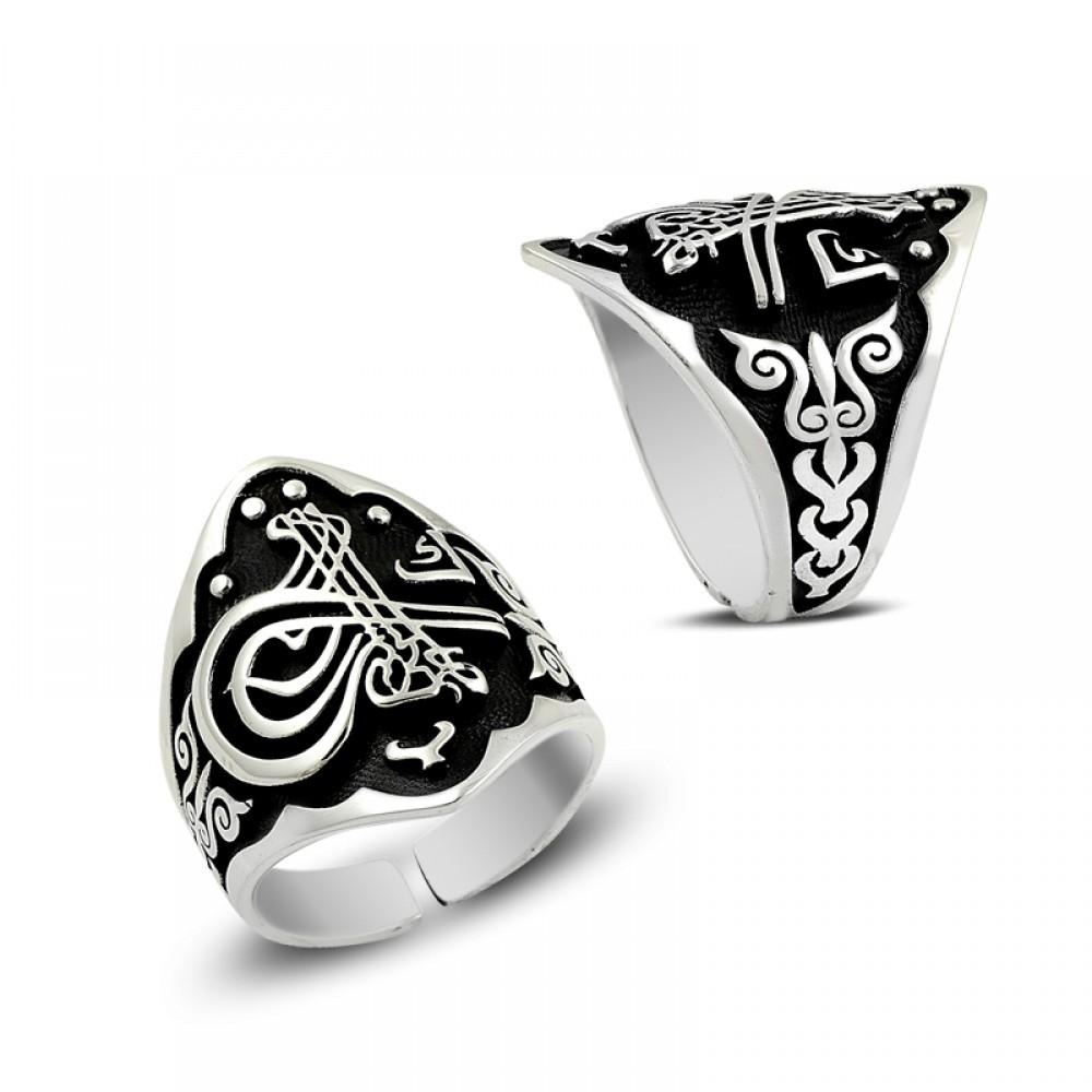 Desenli Osmanlı Tuğralı Gümüş Yüzük
