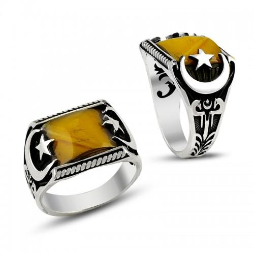 Sarı Akik Taşlı Ay Yıldız Erkek Gümüş Yüzük