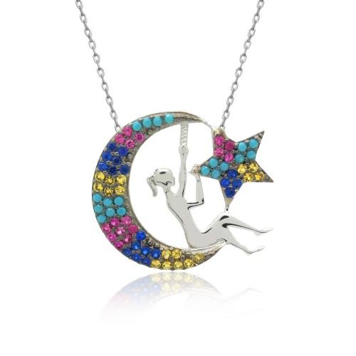 Beyaz Karışık Renkli Ay Perisi Gümüş Kolye