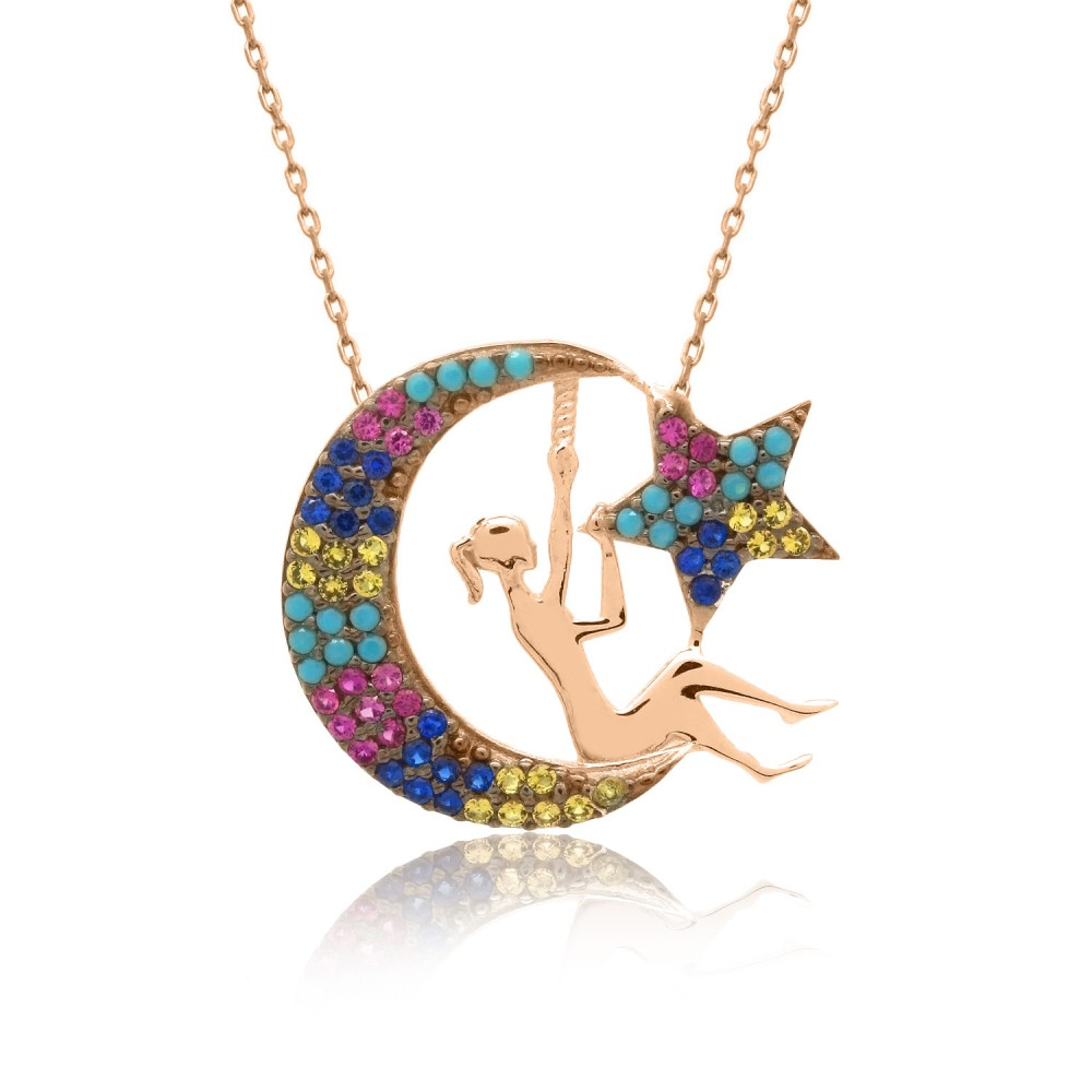 Karışık Renkli Ay Perisi Gümüş Kolye