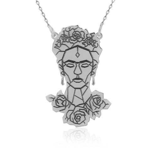 Frida Kahlo Figürlü Gümüş Kolye