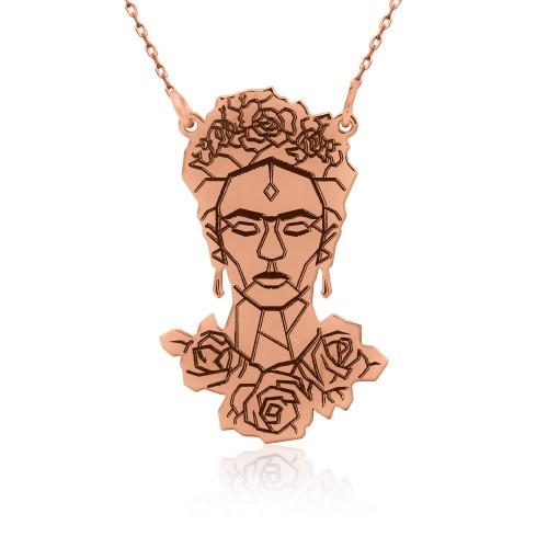 Rose Frida Kahlo Figürlü Gümüş Kolye