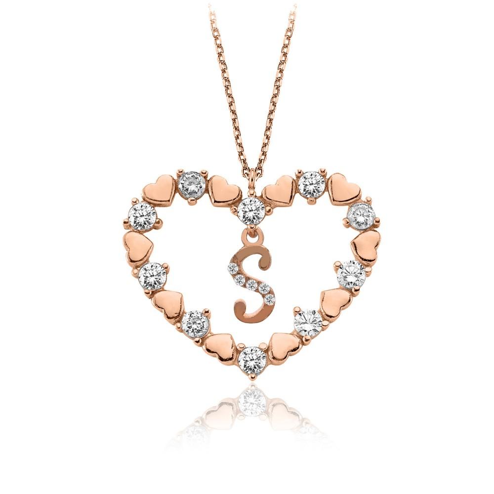 Kalbimin Aynası Harfli Rose Gümüş Kolye