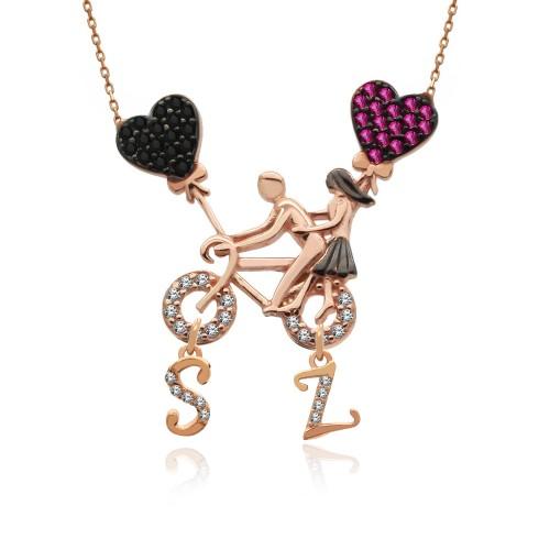 Harfli Bisikletli Aşıklar Gümüş Kolye