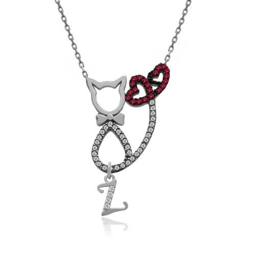 Harfli Kalp Kuyruklu Kedi Gümüş Kolye