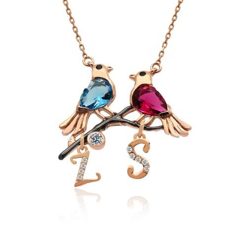 Harfli Renkli Aşk Kuşları Gümüş Kolye
