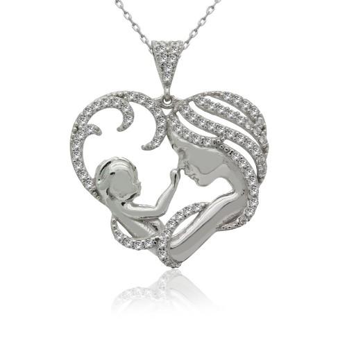 Kalpli Anne Bebek Gümüş Kolye