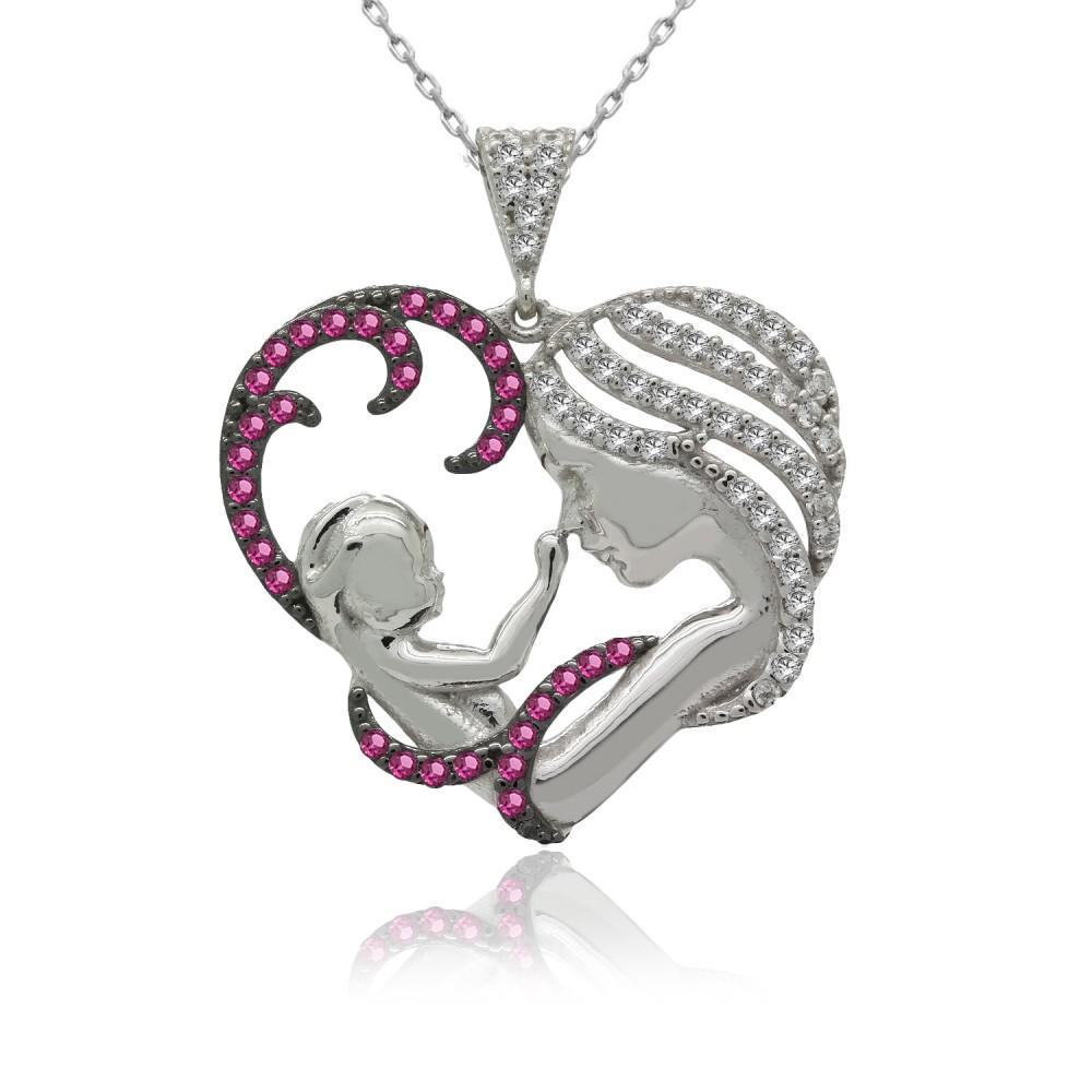 Fuşya Taşlı Kalpli Anne Bebek Gümüş Kolye