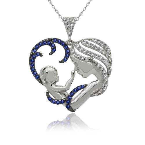 Safir Taşlı Kalpli Anne Bebek Gümüş Kolye