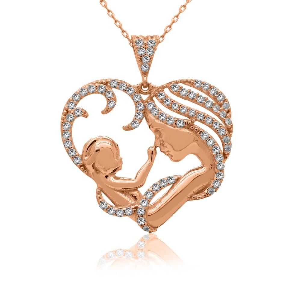 Kalpli Anne Bebek Rose Gümüş Kolye