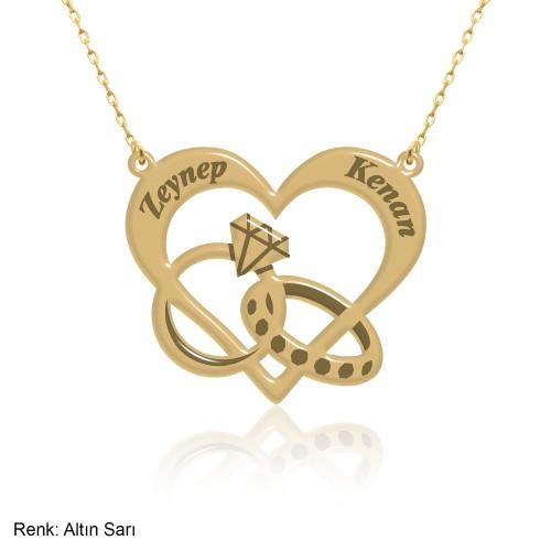 Kalpli Son Aşk Kişiye Özel İsimli Gümüş Kolye