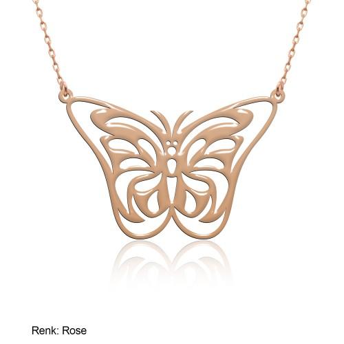 Sade Desenli Kelebek Gümüş Kolye
