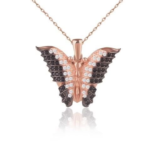 Kişiye Özel İsimli Aşkın Kelebeği Gümüş Kolye