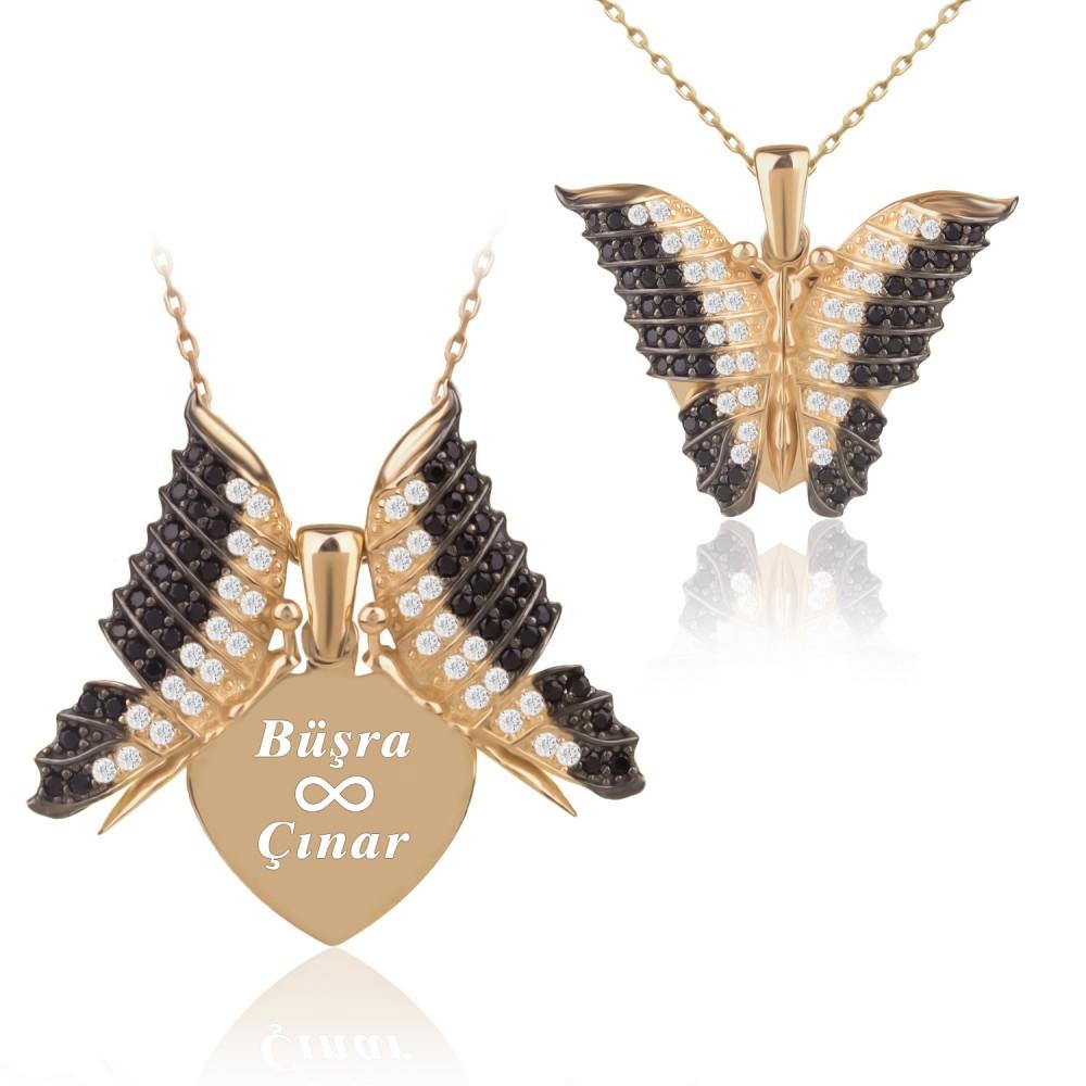 Kişiye Özel İsimli Aşkın Kelebeği Altın Kaplama Gümüş Kolye