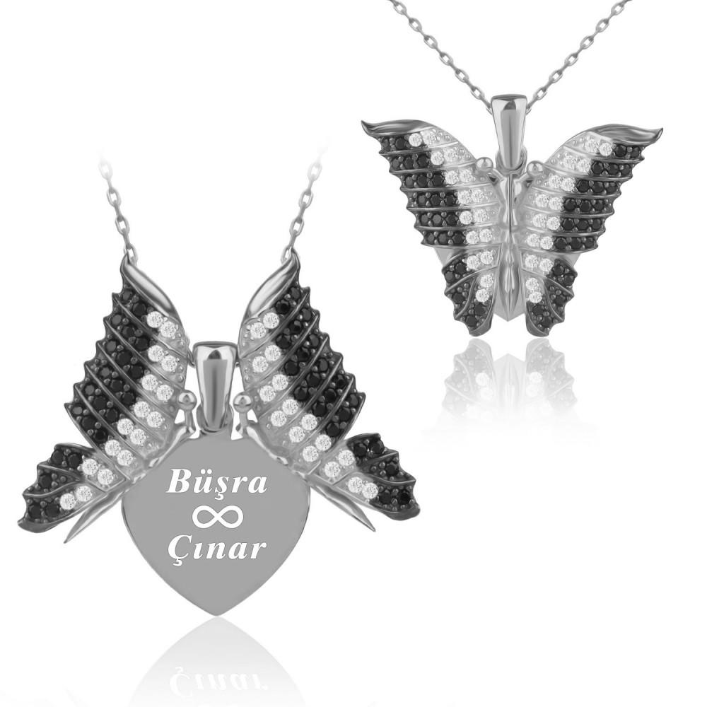 Kişiye Özel İsimli Aşkın Kelebeği Beyaz Gümüş Kolye