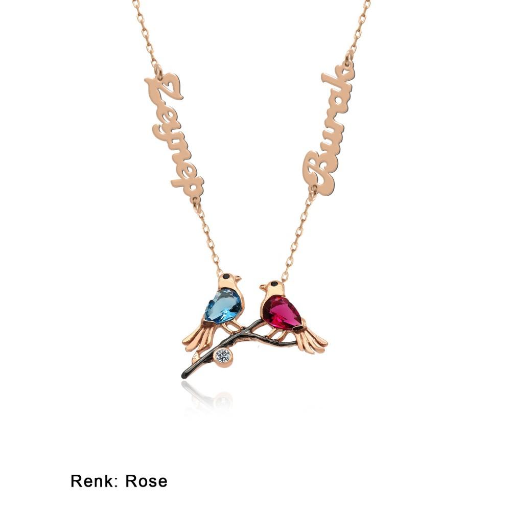 İsimli Kişiye Özel Renkli Aşk Kuşları Gümüş Kolye