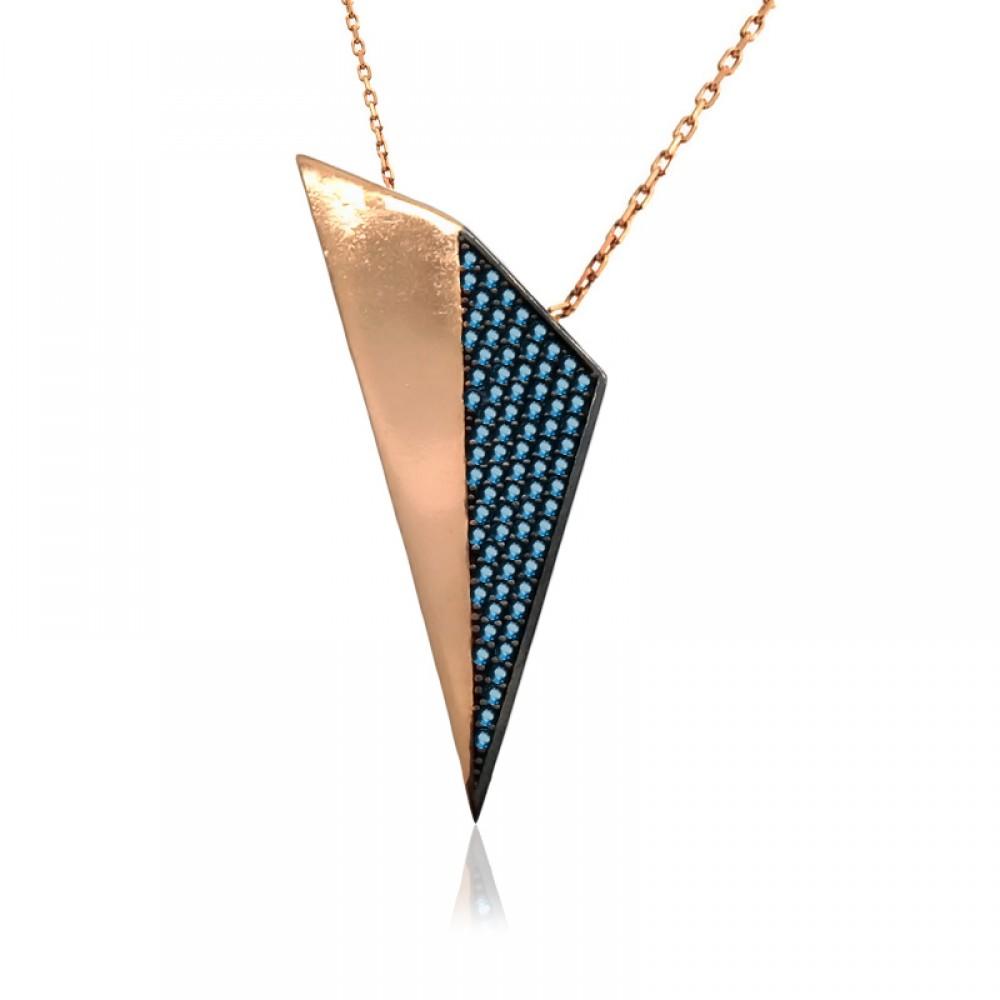Aqua Taşlı Tasarım Üçgen Gümüş Kolye