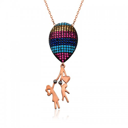 Büyük Renkli Balonlu Çocuk Gümüş Kolye