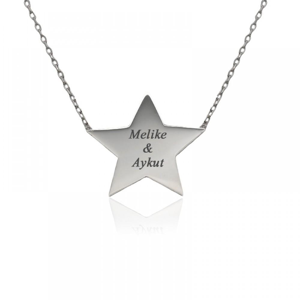 Kişiye Özel İsimli Yıldız Plaka Gümüş Kolye