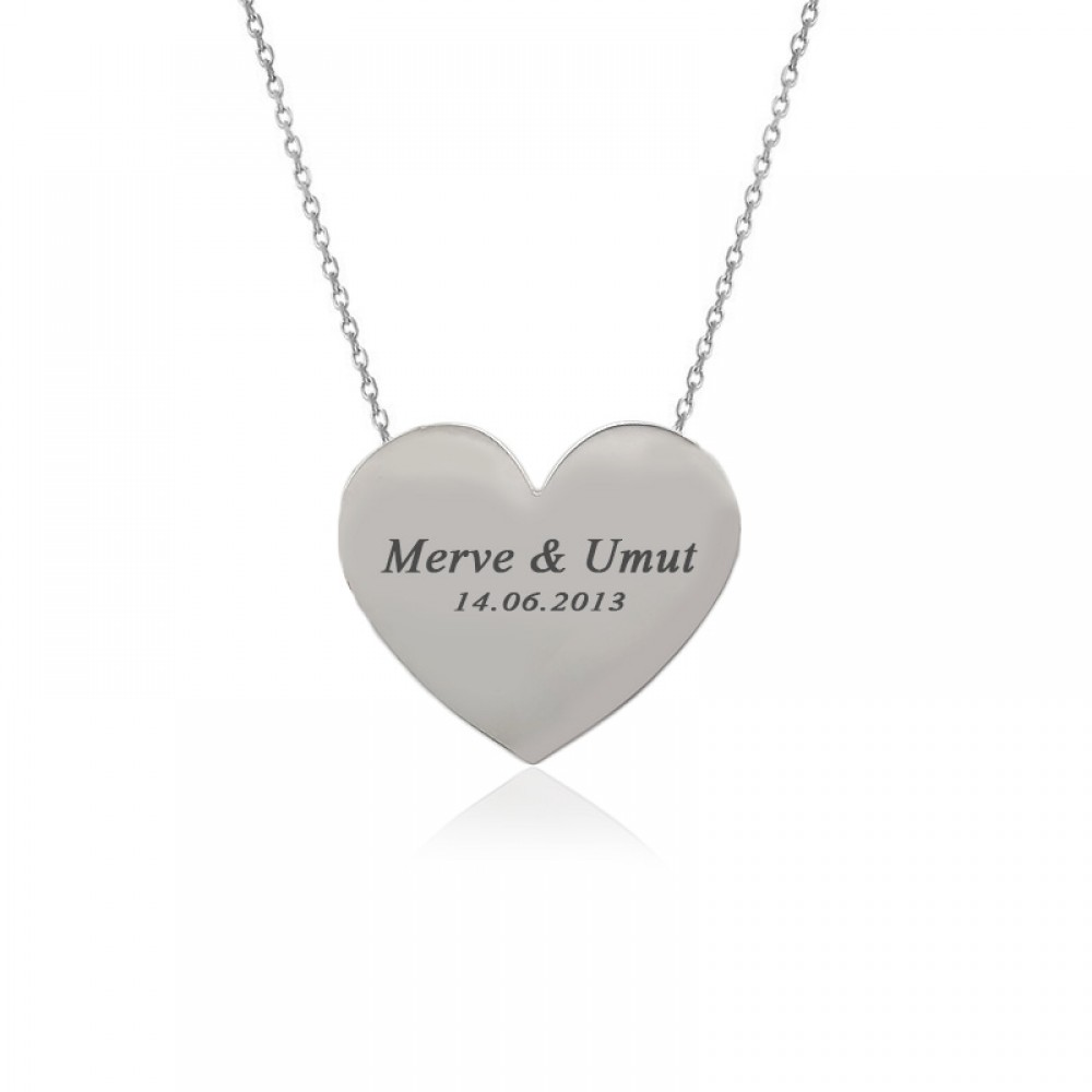 Kişiye Özel İsimli Kalp Plaka Gümüş Kolye
