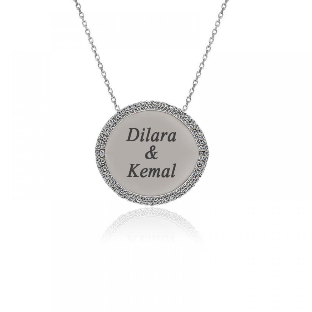 Kişiye Özel İsimli Taşlı Plaka Gümüş Kolye