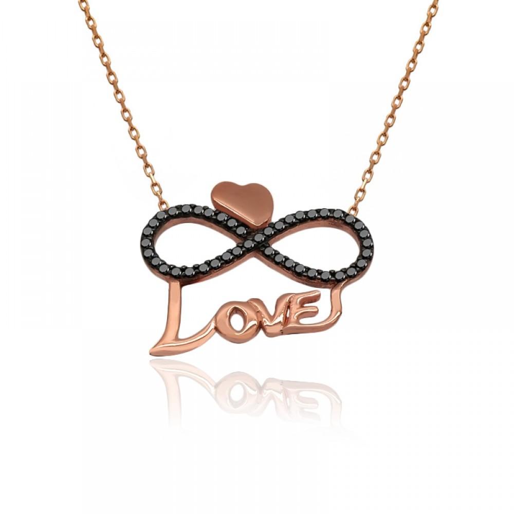 Love Yazılı Kalpli Sonsuzluk Aşk Gümüş Kolye