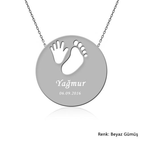 Kişiye Özel İsimli Bebek El Ayak İzi Gümüş Kolye
