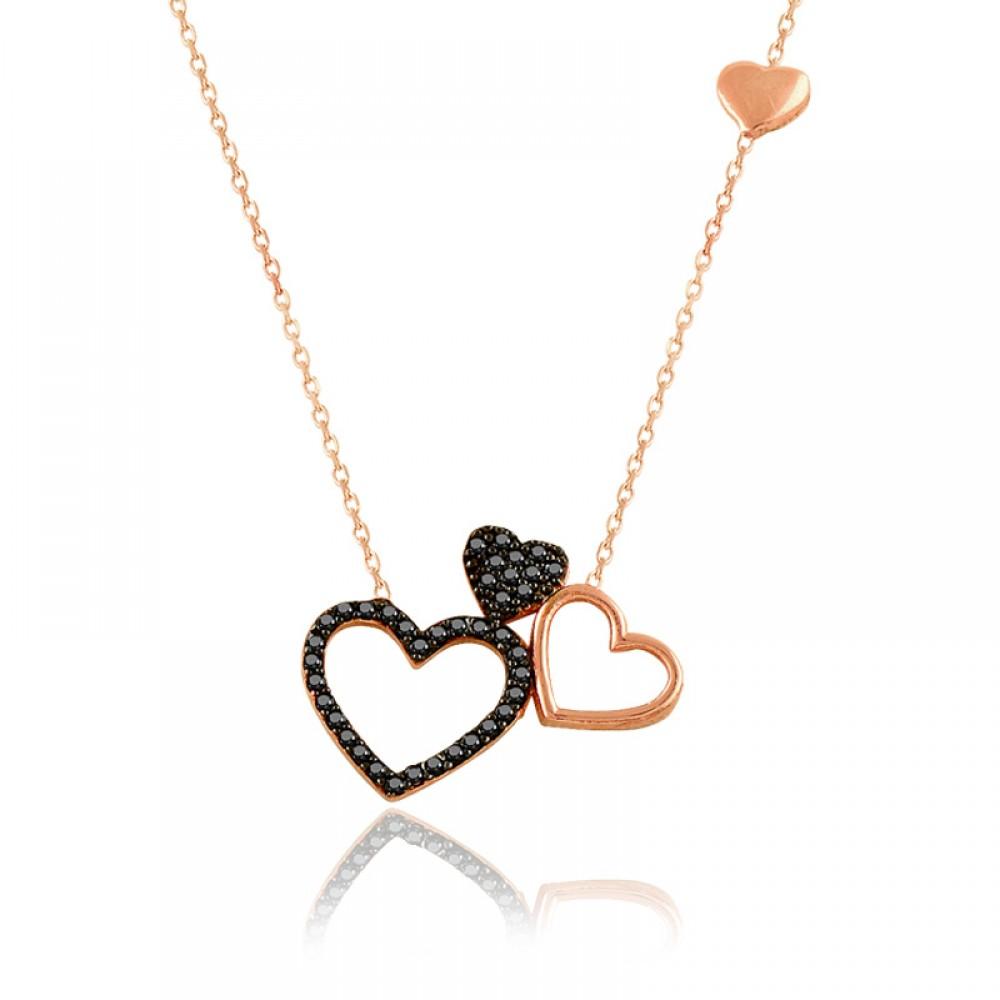 Siyah Üçlü Kalp Gümüş Kolye