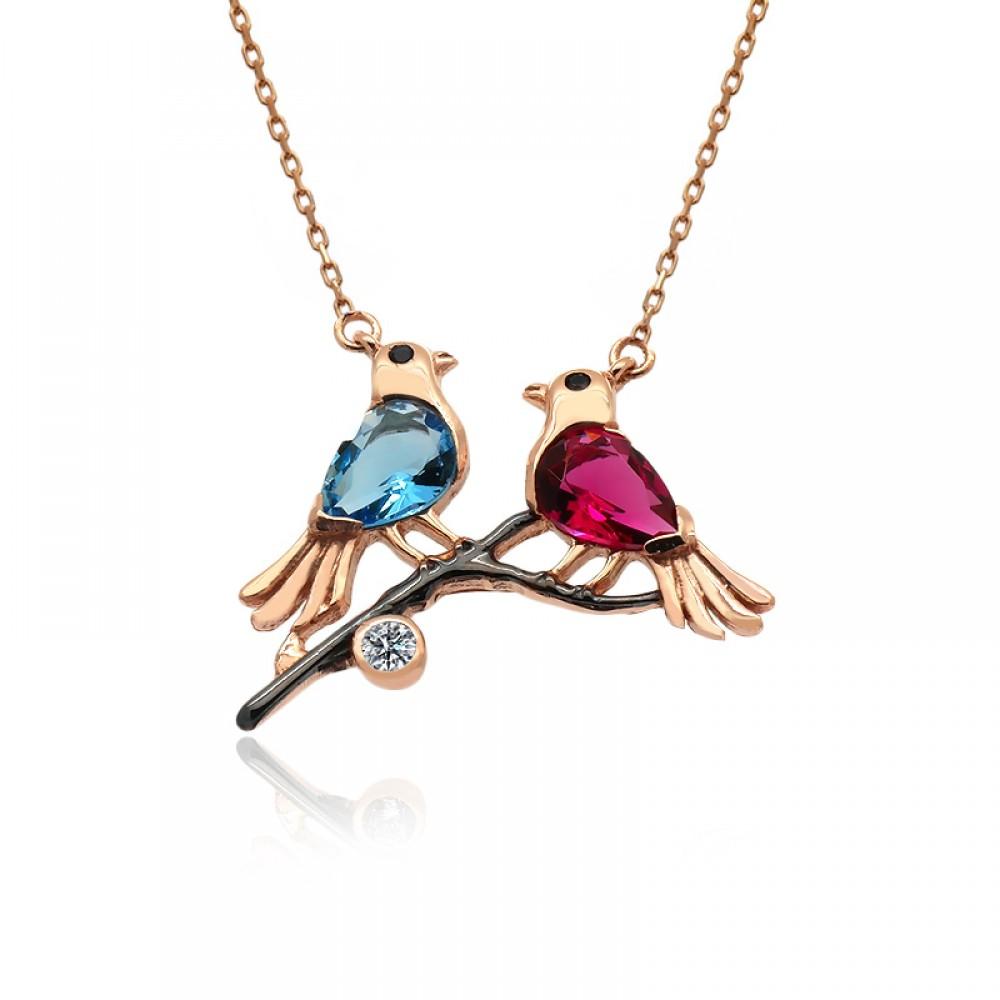 Renkli Aşk Kuşları Gümüş Kolye