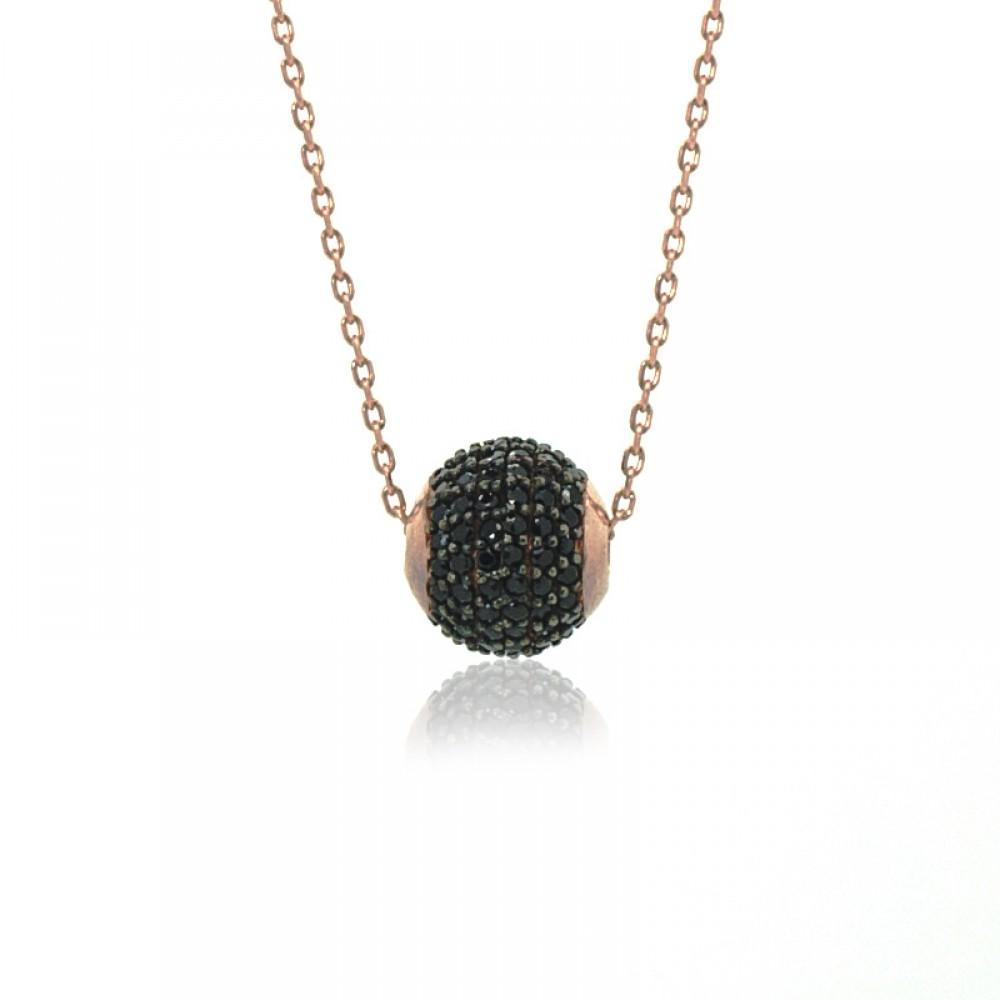 Siyah Taşlı Gümüş Top Kolye