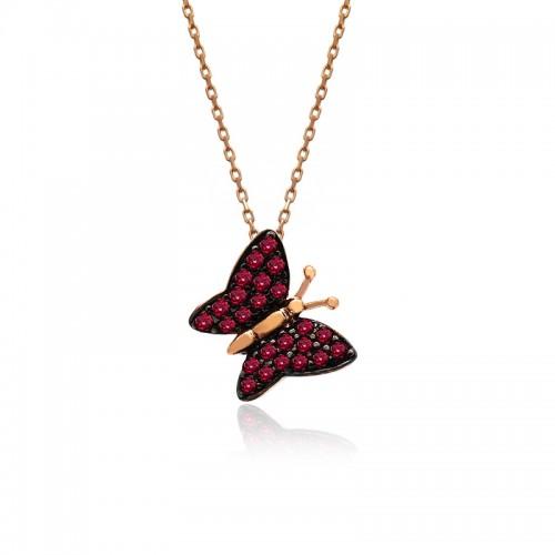 Ruby Taş Kelebek Gümüş Kolye