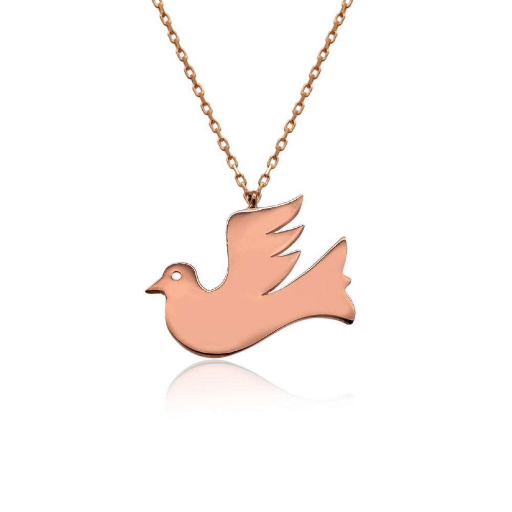 Uçan Kuş Plaka Gümüş Kolye