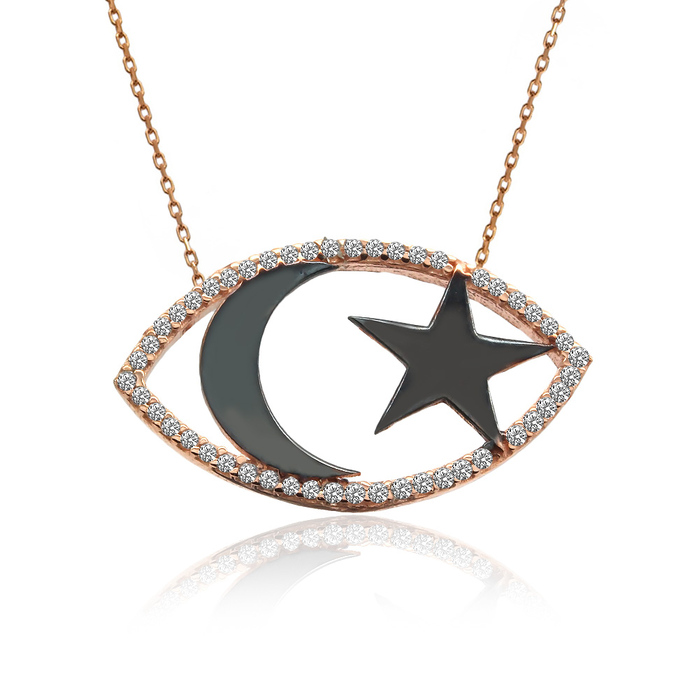 Taşlı Siyah Ay Yıldız Gümüş Kolye