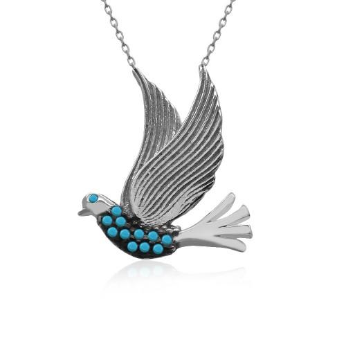 Turkuaz Taş Uçan Kuş Gümüş Kolye