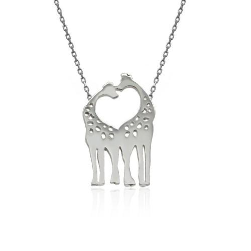 Sade Çift Zürafa Gümüş Kolye