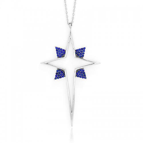 Beyaz Büyük Kutup Yıldızı Gümüş Kolye