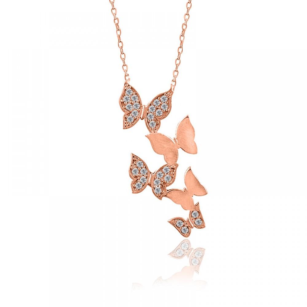 Beşli Kelebek Gümüş Kolye